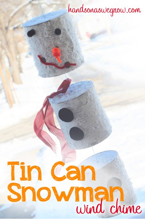 Make a tin can snowman wind chime
